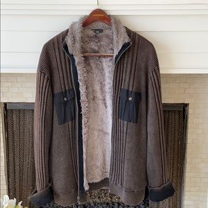 XXL Brown INC Zip Up Sweater with faux fur